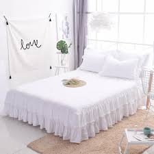 Bed Frame Skirt White Princess Lace Bedspread Bed Skirt 1 3pcs Ruffles Bedding Bed