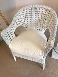 White Wicker Armchair White Wicker Armchair With Seat Pad In Yeadon West Yorkshire