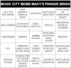 thanksgiving parade bingo 2016 city