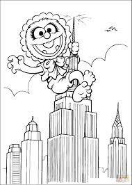 animal baby climbs the skyscraper coloring page free printable