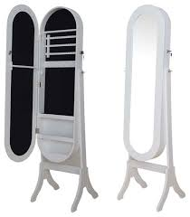 Mirror Armoire Wardrobe White Black Oval Jewelry Armoire Wardrobe Floor Dressing Mirror