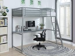 bureau mezzanine lit mezzanine malicio 90x190cm bureau intégré argent