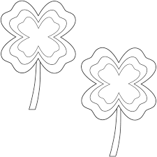 four leaf clovers with multi border 2 clovers coloring page