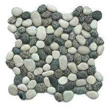 White Pebble Tiles Bathroom - stratastones interlocking pebble tile