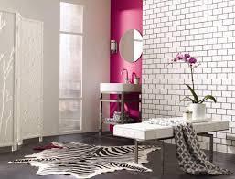 Zebra Print Bathroom Ideas Colors Contemporary Bathroom Design With Light Pink Brick Wall Idea And