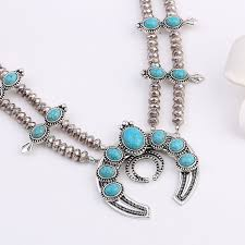 silver plated necklace images Southwest style faux turquoise antique silver plated necklace jpg