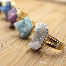 crystal stone rings images 2018 mix crystal druzy cluster ring gold druzy raw gemstone rough jpg