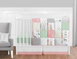 Baby Bedding Crib Set Coral Mint And Grey Woodsy Deer Baby Bedding 11pc Crib Set