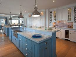 Coastal Kitchen Cabinets - best white and sky blue kitchen cabinet paint color in a kitchen
