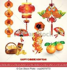 Happy New Year Decorations Vectors Illustration Of Happy Chinese New Year Decoration Set
