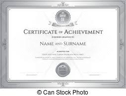 vector of certificate of achievement template with award laurel on