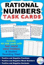 rational numbers fractions u0026 decimals word problems task cards