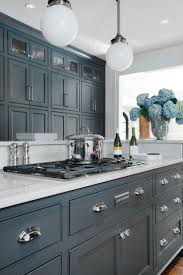 Paint Kitchen Cabinets Blue Grey Painted Kitchen Cabinets Home Designs Kaajmaaja