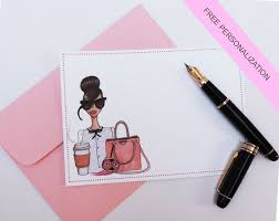 custom notecards set of note cards with free personalization fashion illustration
