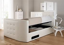 Wood Double Bed Designs With Storage Images Interesting Modern White Upholstered Storage Bed Design With High