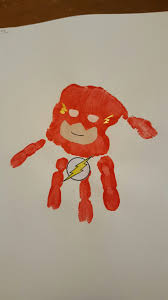 Kids Handprint Crafts Superhero Flash Handprint Hand Print Calendar Pinterest