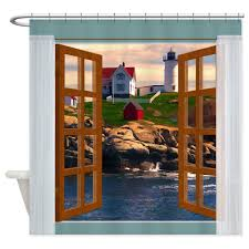 Lighthouse Curtains Bathroom by Amazon Com Cafepress Window View Lighthouse Sunset Shower