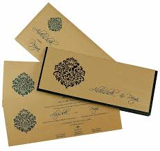 wedding cards design indian wedding card in green and golden with cutout design