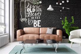 Walls Decoration Living Room Chalkboard Typography Brick Wall Decoration Ideas