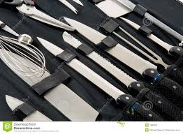 professional chef u0027s knife set in black case stock image image