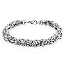 white chain bracelet images Stainless steel twisted rope byzantine chain bracelet jpg