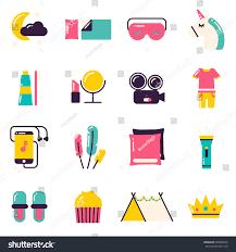 slumber party icons pajama party sleepover stock vector 668848576