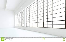 Clean Wall by Empty Modern Industrial Expo Room Huge Panoramic Windows Painted