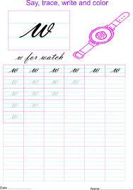 cursive small letter u0027w u0027 worksheet