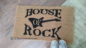 Welcome Doormats House Of Rock With Guitar Custom Handpainted Welcome Doormat By