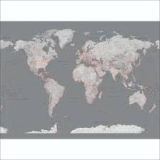 Grey Feature Wall Silver Grey World Map Feature Wall Wallpaper Mural 315cm X 232cm