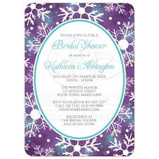 shower invitations winter bokeh purple teal snowflake