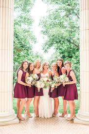 short berry colored bridesmaid dresses