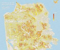 san francisco map of usa san francisco ca usa streets colored by slope