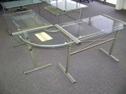 glass top computer desk l shape computer desk with glass top desks office furniture within