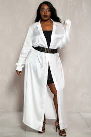 white long sleeves sheer maxi plus size dress
