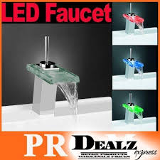 color changing led faucet glass waterfall bathroom sink faucet