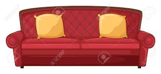 Red Sofa Furniture Illustration Of A Red Sofa And Yellow Cushion On A White Royalty