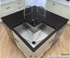 corner kitchen cabinet island custom copper stainless corner sinks havens luxury metals