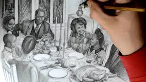drawing a family eating thanksgiving dinner detailed quick