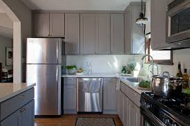 Painted Off White Kitchen Cabinets White Kitchen Wood Floor Black And Grey Walls Grey Walls With Oak