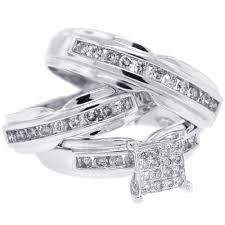white gold wedding ring sets groom diamond wedding 3 ring set 14k white gold 1 34 ct