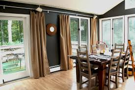 awesome brown fabric sliding dining room curtains for glass doors brown fabric sliding dining room curtains for glass doors treatment also wooden dining table set on wooden floors as grey dining room decorating ideas
