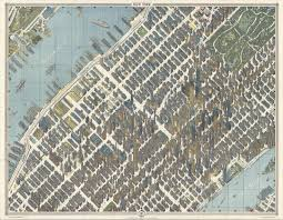 New York Maps by Bird U0027s Eye View Map Of Midtown Manhattan New York City Usa