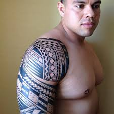 dark black tribal polynesian tattoos on chest and half sleeve