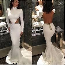 high neck long sleeves white backelss evening dresses mermaid