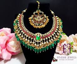 indian necklace set images Pink green indian necklace set indian earrings bridal indian etsy jpg