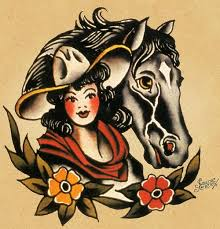 sailor jerry cowgirl and horse art and artifacts pinterest