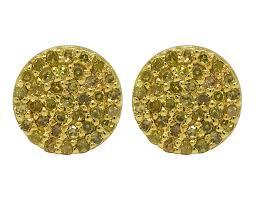 diamond ear studs 10k yellow gold mens canary pave diamond 12mm studs