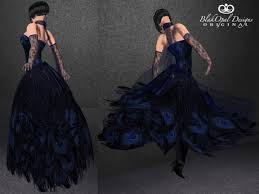 second life marketplace blue black feather long gown