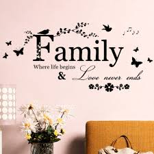 aliexpress com buy family love never ends quote vinyl butterfly aliexpress com buy family love never ends quote vinyl butterfly wall decal wall lettering art words wall sticker home decor wedding decoration 8346 from